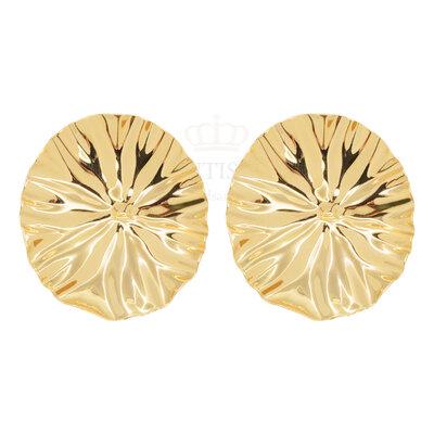 Brinco leque Oval Organico Ouro18k