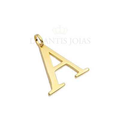 Pingente letra grande serifada ouro18k