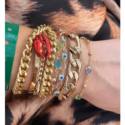 Bracelete Buzios Vermelho Ouro18k