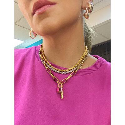 Pingente Cadeado Metalizado Rosa Ouro18k