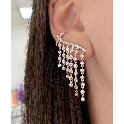Ear Cuff fios Pontos de luz com piercing pressão Prata925