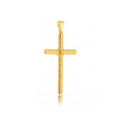 Pingente Cruz Grande Detalhada Ouro