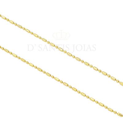 Colar Corrente Palito e Bolinha delicada Ouro18k