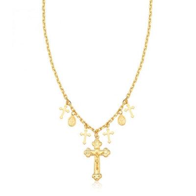 Colar Religion Crucifixos e Medalhas Ouro