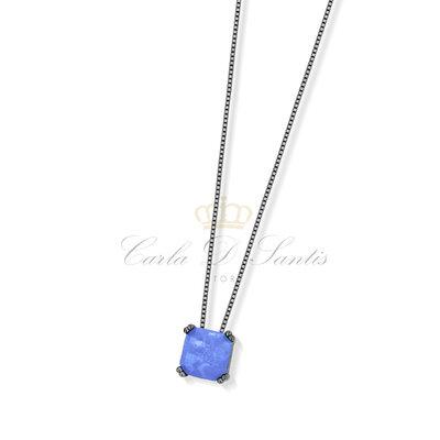 colar quadrado tanzanita negro prata925