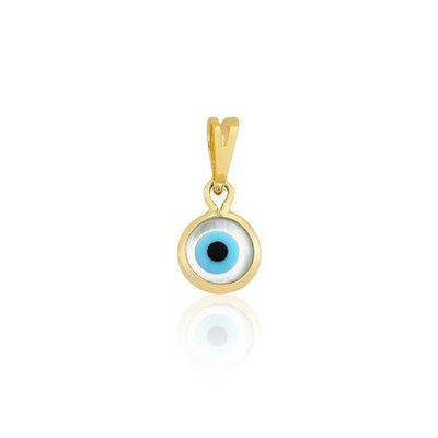 Pingente Olho Grego Branco Pequeno Ouro18k