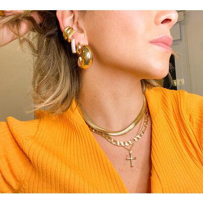 Colar e Choker Figaro vintage style Ouro18k