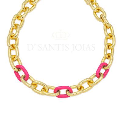 Colar Elos Ouro com Elo Esmaltado Pink Ouro18k