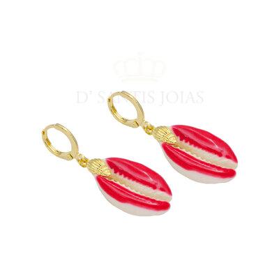 Argola Buzios Esmaltado Vermelho com Concha Ouro18k