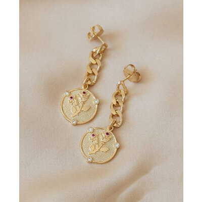 Brinco Grumet Medalha Rosa Ouro18k