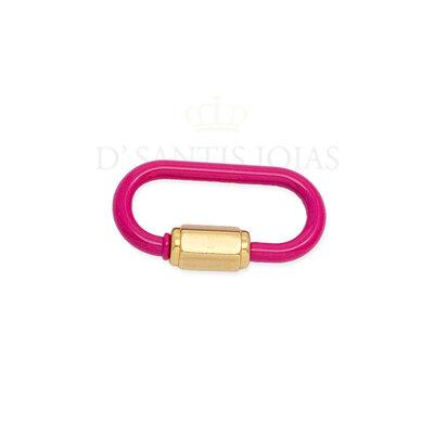 Mosquetao Esmaltado Pink Ouro (abre e fecha)