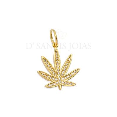 Pingente Weed Cravejado Ouro