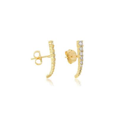 Brinco Ear hook Cravejado Crescente Ouro18k