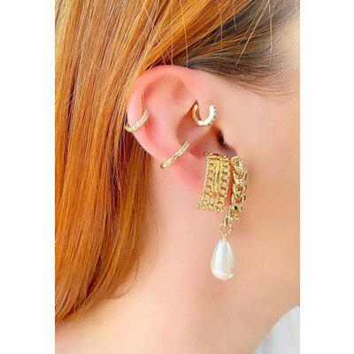 Brinco Ear Hook Grumet com Perola Ouro18k