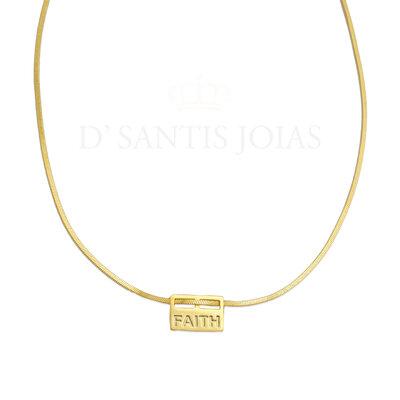 Colar Malha Plaquinha Faith ouro18k