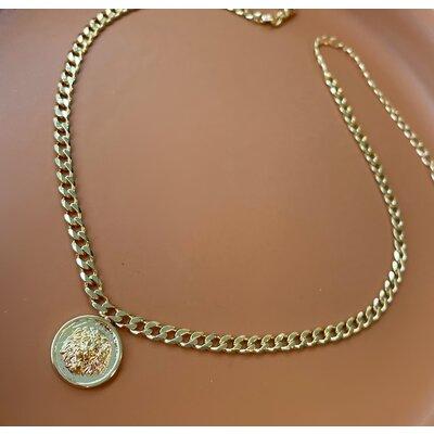 Choker Grumet com Medalha Leao Ouro18k