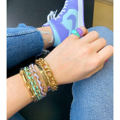 Bracelete Liso com gravaçao Blessed Ouro18k