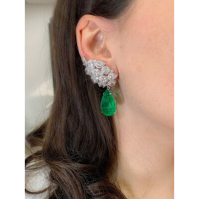 Brinco Ear Cuff Cluster Gota Esmeralda Prata925