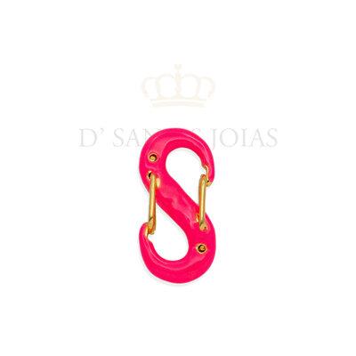 Pingente Mosquetao Pink Neon ouro 18k