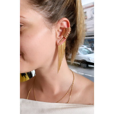 Brinco Glam Franjas modelo Ear Jacket Ouro18k
