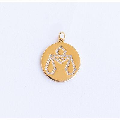 Pingente Medalha Signo Cravejada Ouro18k