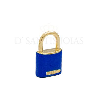 Pingente Cadeado BELIEVE Esmaltado Azul Bic Ouro