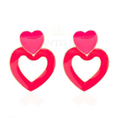 Brinco Duplo Coração Pink Ouro