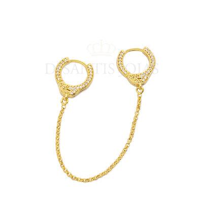 Argola Algema ( padlock ) Cravejada dupla Ouro 18k Unitária