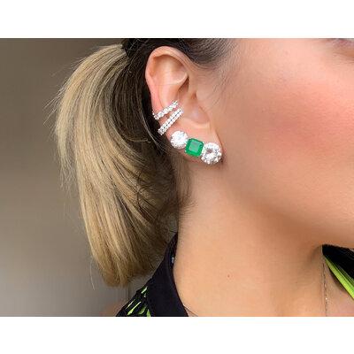 Ear Hook de pressão Cravejado prata925 ouro branco18k