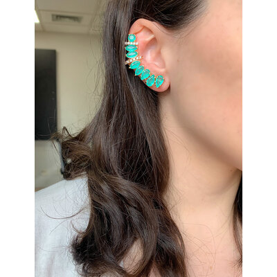 Brinco Ear Cuff Esmeralda Colombiana Prata925 Ouro18k