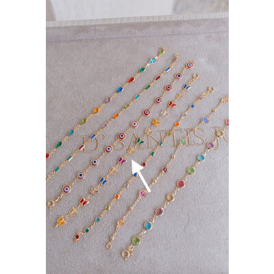 Pulseira Borboletas Rainbow Ouro18k