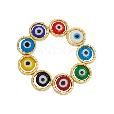 Pulseira olho grego colors ouro18k