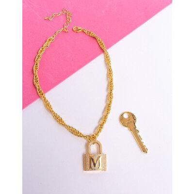 Cadeado Letra Cravejado Ouro (escolha a letra)