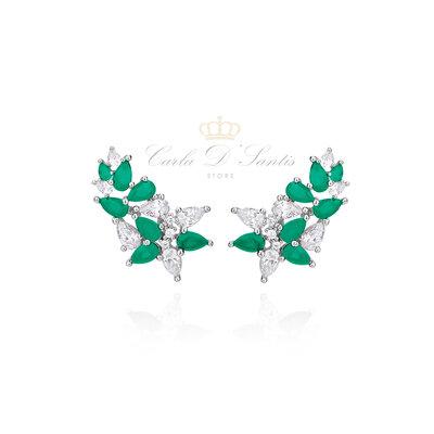 Brinco Valentine Ear Cuff Folhas Prata 925 Zirconias verdes