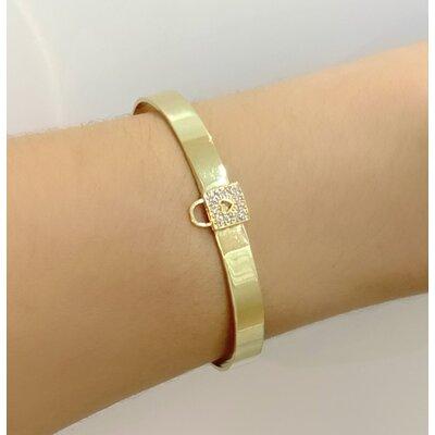 Bracelete Liso com cadeado padlock cravejado Ouro18k