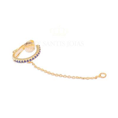 Piercing Cravejado Safira com Fio Ouro