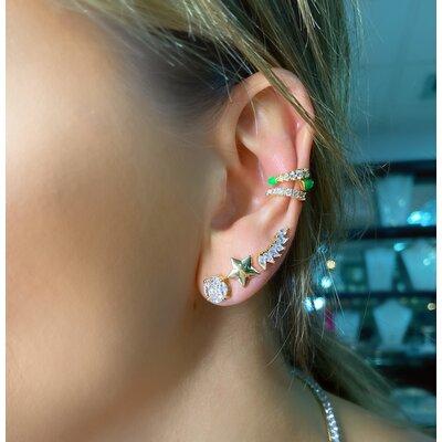 Brinco ear cuff pequeno navetes prata925 ouro18k
