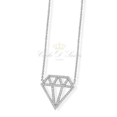 Colar Diamante Cravejado Prata925