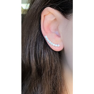 Brinco Ear Cuff Cravejado Prata925