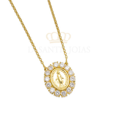 Colar Medalha Nossa Senhora das Graças Ouro18k