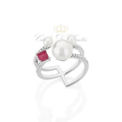 anel pérolas com pedra turmalina rosa prata925