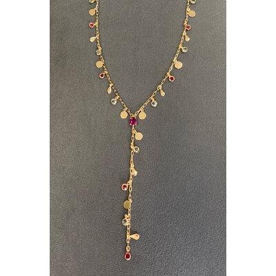 Colar Gravata Medalhas/ Gotinhas Boho Colors Ouro