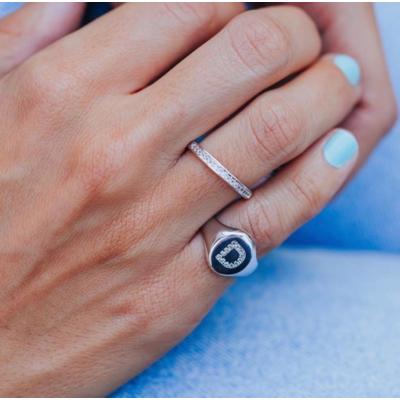 Anel de Dedinho Inicial Letra Rodio (escolha sua letra) (anel ajustavel)