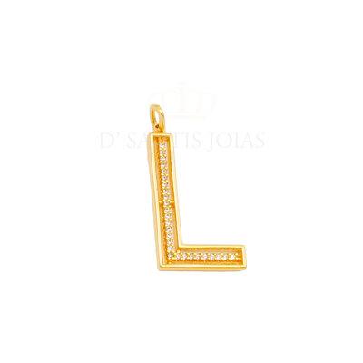Pingente Letra Cravejada 2.5cm Ouro (escolha)