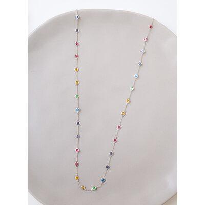 Colar Longo Pontos Rainbow Maxi Prata925