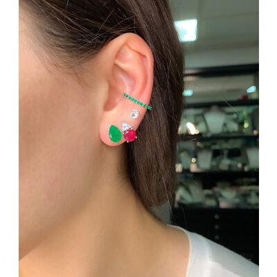 Piercing Ear Hook Esmeralda Prata925
