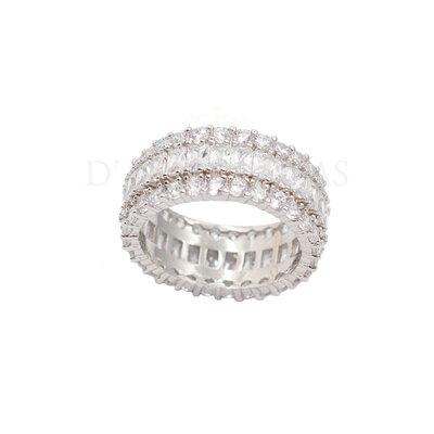 Anel Baguetes Cristal Prata925