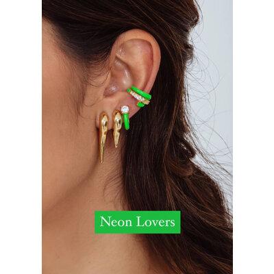 Piercing Duplo Cravejado e Esmaltado Verde Neon Ouro18k