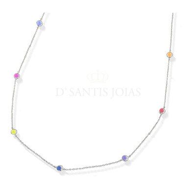 Colar Pontos Rainbow 45cm Prata925