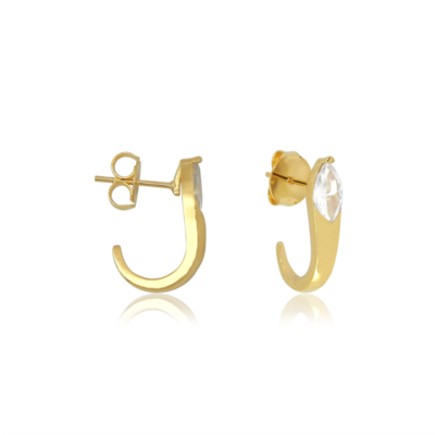 Brinco Argola Ear Hook Snack cristal Ouro18k